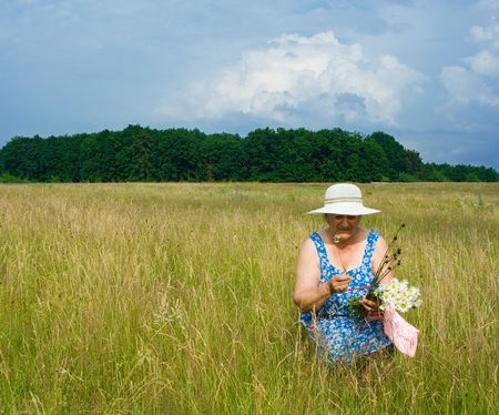Portrait of an old woman with hat picking flowers near a forest Stock Photo - 3250743