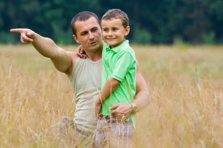 Father and son having a great time outdoors Stock Photo - 3250748