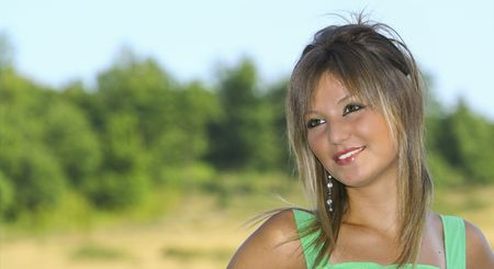 Portrait of a beautiful blonde woman outdoor Stock Photo - 3538251