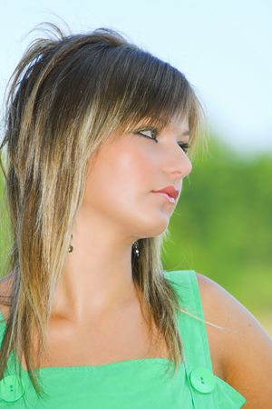 Portrait of a beautiful blonde woman outdoor Stock Photo - 3538276
