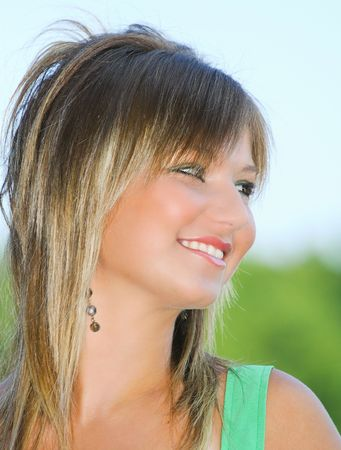 Portrait of a beautiful blonde woman outdoor Stock Photo - 3538281