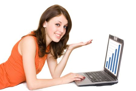Young business woman with laptop isolated on white photo