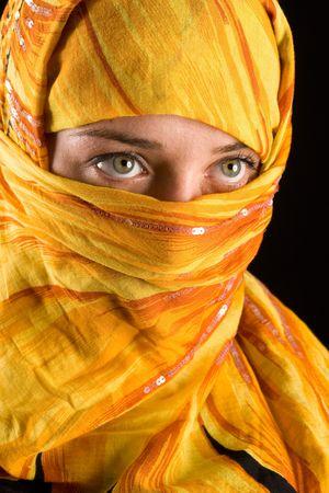 close-up portrait of a beautiful woman wearing veil Imagens