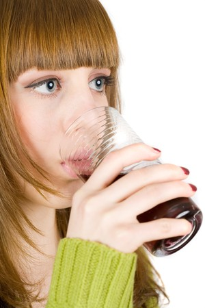 Beautiful blonde woman drinking red wine, isolated on white background Stock Photo - 4206971