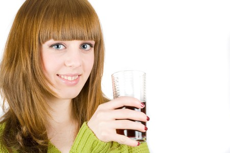 Beautiful blonde woman drinking red wine, isolated on white background photo