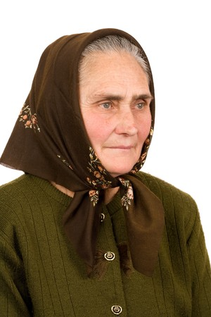 Close-up portrait of an old peasant woman isolated on white background Stock Photo - 4346735