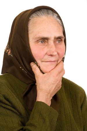 Close-up portrait of an old peasant woman isolated on white background Stock Photo - 4346723