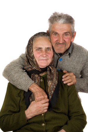 Portrait of an elderly couple, isolated on white background Stock Photo - 4370958