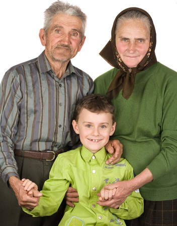 Happy grandfather, grandmother and grandson Stock Photo - 4370960