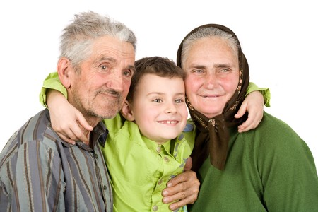 Happy grandfather, grandmother and grandson Stock Photo - 4370945
