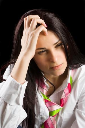 Brunette businesswoman isolated on dark background Stock Photo - 4419464