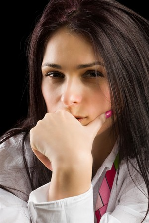 Beautiful brunette deep in thoughts Stock Photo - 4419424