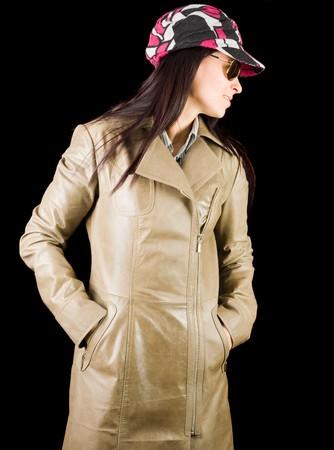 overcoat: Beautiful brunette lady in overcoat