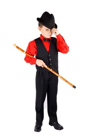 showman: Gorgeous kid dancer, isolated on white background Stock Photo