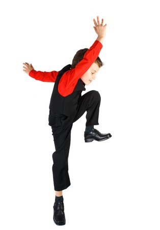 ni�os actuando: Chico guapo estilo de baile, aisladas sobre fondo blanco