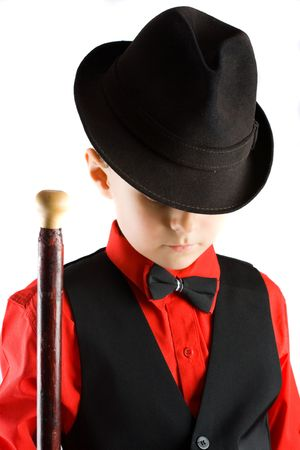 showman: Poco elegante bailar�n con sombrero y bast�n, aisladas sobre fondo blanco