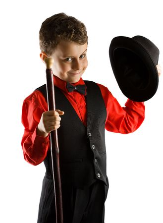 the showman: Stylish little dancer with hat and cane, isolated on white background