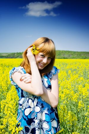 oil park: Pretty blonde in a rape field