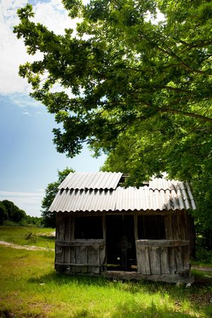 A shelter at the edge of a forest Stock Photo - 5058414