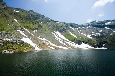 fagaras: Beautiful view of Balea Lake in Romania, Fagaras mountains