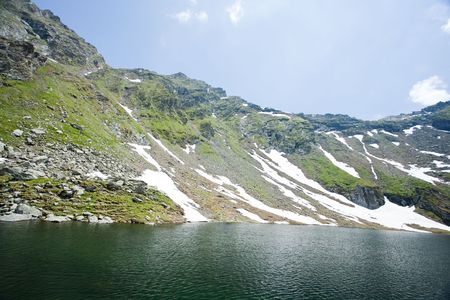 balea: Beautiful view of Balea Lake in Romania, Fagaras mountains