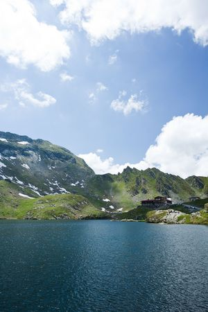 fagaras: Bellissima vista lago Balea, in Romania, Fagaras montagne Archivio Fotografico