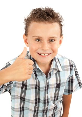 Adorable boy making thumbs up sign, isolated on white background Stock Photo - 5321252