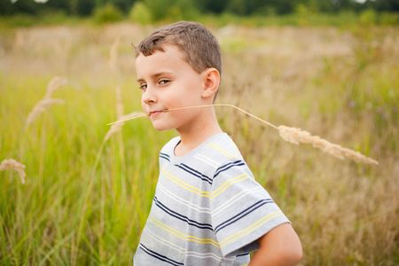 Cute kid chewing a straw of yellow grass, like the farmer he is Stock Photo - 5619597