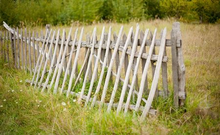 Wooden fence at the edge of the forest, in countryside Stock Photo - 5623259