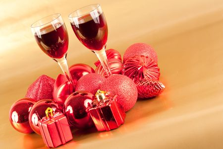 Two glasses of wine with Christmas decorations photo