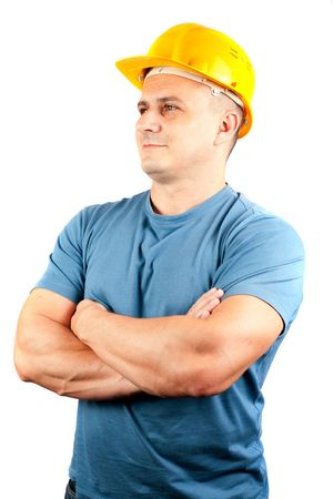 Blue collar worker with yellow helmet, isolated on white background Stock Photo - 5694201