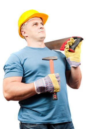 Blue collar worker with yellow helmet and tools, isolated on white background photo