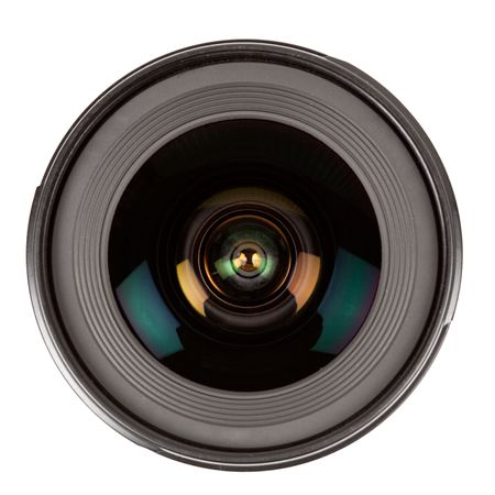 camera lens: Close up of a photographic lens isolated on white background