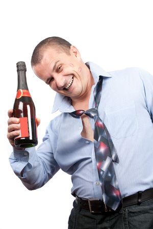 drunkard: Portrait of a funny drunk businessman isolated on white background