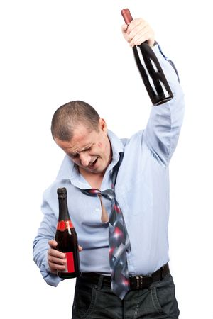 Portrait of a funny drunk businessman isolated on white background