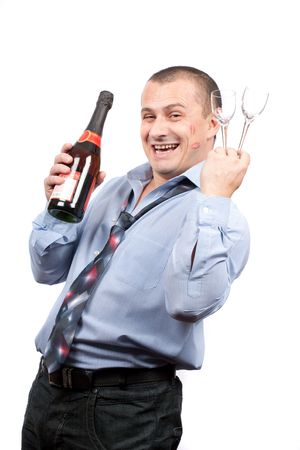 Portrait of a funny drunk businessman isolated on white background photo