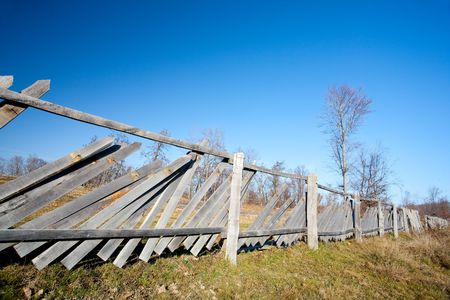 Autumnal landscape with fence in a sunny day Stock Photo - 6074984