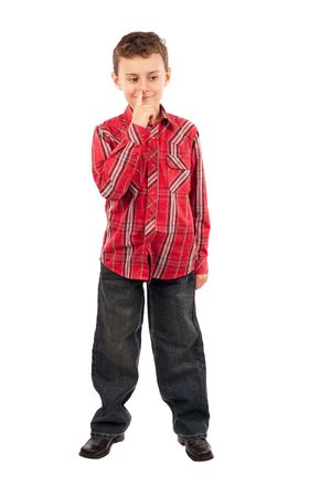 nose picking: Portrait of a schoolboy picking his nose Stock Photo