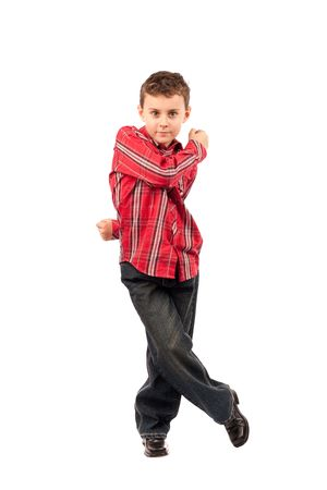 Full body shot of a cute little dancer, isolated on white background photo