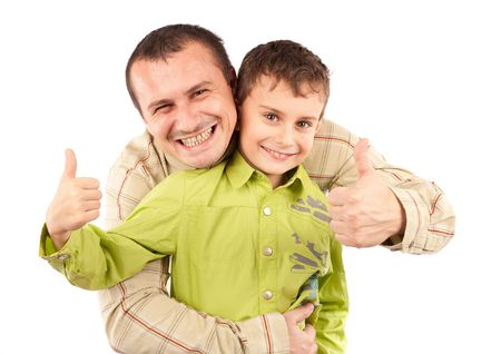 Father and son having a great time, studio shot Stock Photo - 6074913