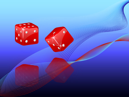 Vector illustration of a pair of dice rolling Vector Illustration