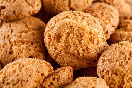 Close up of amaretti - delicious italian cookies, isolated on white background Stock Photo - 6296659