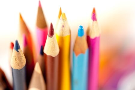 coloured pencil: Close up of many pencils over blurred background, shallow depth of field