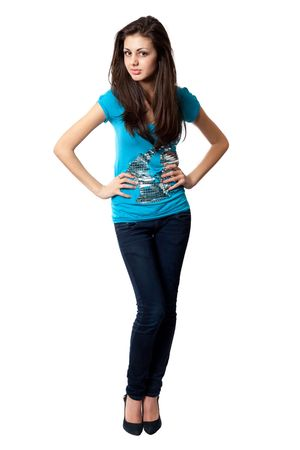 body image: Full body image of a beautiful young lady isolated on white Stock Photo
