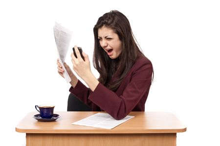 crazed: Angry young business lady shouting on phone