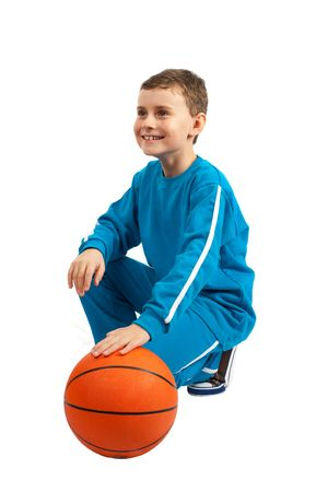 Adorable kid with basketball isolated on white background Stock Photo - 6549533