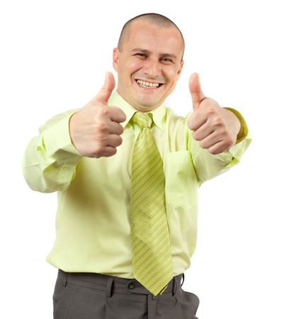 Happy successful businessman making thumbs up sign