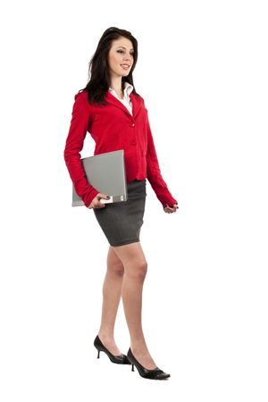 Attractive young businesswoman with folder isolated on white Imagens