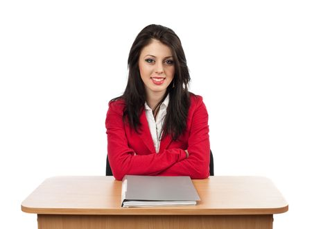 Image of a beautiful businesswoman with a folder on her desk Stock Photo - 6607292