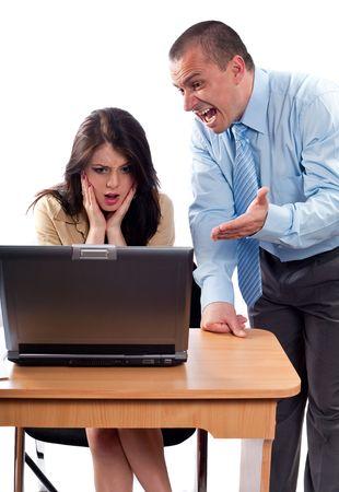 Boss blaming an employee for bad results, studio shot photo